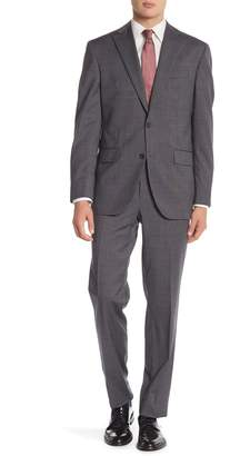 David Donahue Grey Sharkskin Two Button Notch Lapel Classic Fit Suit
