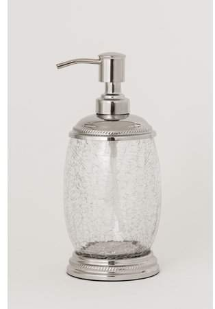 Empire Hotel Clear Crackle Glass Lotion Dispenser With Chrome Finish