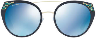 Bvlgari Serpenti Round Mitered Metal Sunglasses