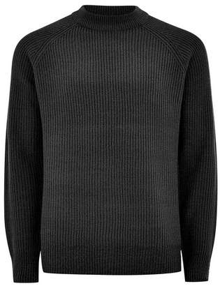Topman Mens Grey Charcoal Ribbed High Neck Sweater