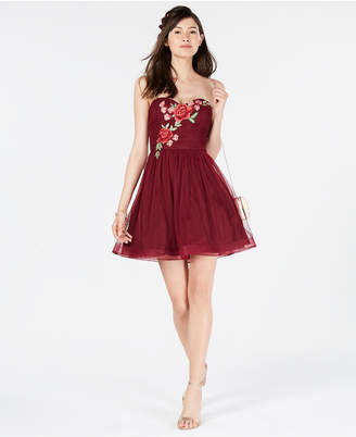 B. Darlin Juniors' Rose-Applique Strapless Dress