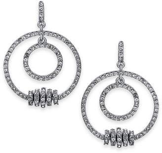 "INC International Concepts I.n.c. Medium 1.25"" Silver-Tone Pave Rondelle Bead Double-Row Drop Hoop Earrings"