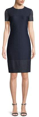 St. John Caris Knit Lace-Trim Short-Sleeve Dress