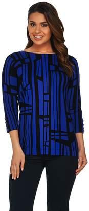Susan Graver Printed Cotton Nylon Bateau Neck Sweater w/Button Trim