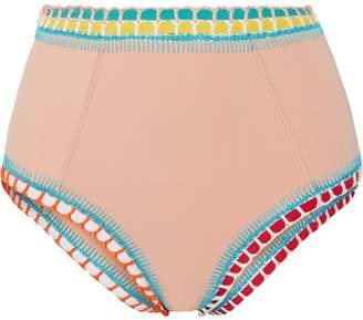 Kiini Luna Crochet-trimmed High-rise Bikini Briefs - Beige