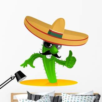 Mural Wallmonkeys LLC Mexican Cool Cactus Wall Decal by Wallmonkeys Peel and Stick Graphic (48 in H x 47 in W) WM168455