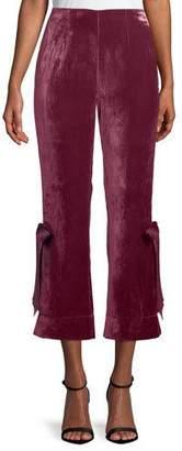 Cinq à Sept Lou Cropped Velvet Pants w/ Ribbons