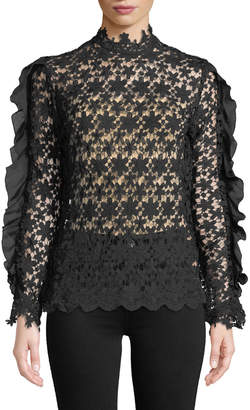 Lumie Ruffle-Sleeve Crochet Lace Blouse