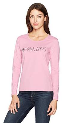 Armani Jeans Women's Pink Long Sleeve Graphic Tshirt