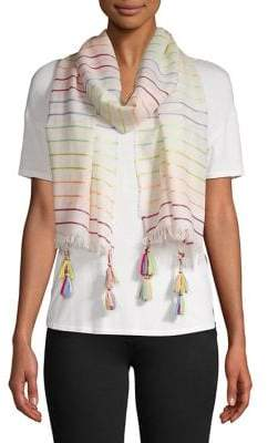 Collection 18 Neon Striped Tassel Scarf