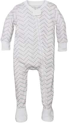 Burt's Bees Chevron Bee Organic Baby Zip Up Footed Pajamas