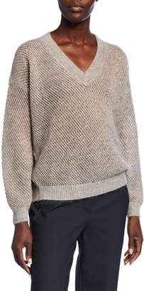 Brunello Cucinelli Metallic Mohair Mesh Sweater