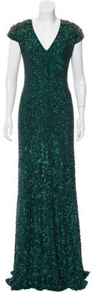 Jenny Packham Silk Sequined Gown w/ Tags $1,295 thestylecure.com