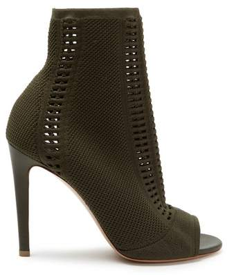 Gianvito Rossi Vires 100 Open Knit Sock Ankle Boots - Womens - Khaki