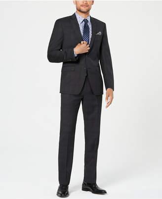 Tallia Men Slim-Fit Stretch Black Plaid Wool Suit