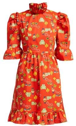 Of A Kind Batsheva - Western Print One Cotton Mini Dress - Womens - Red Multi