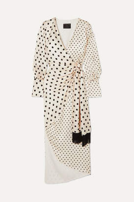 Mother of Pearl Velda Polka-dot Silk-satin Wrap Dress - Ivory