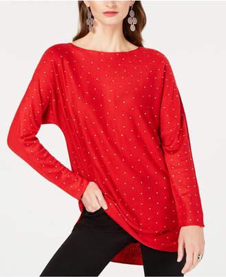INC International Concepts I.n.c. Petite Allover Rhinestone Shirttail Sweater