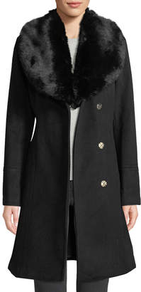 Karl Lagerfeld Paris Removable Faux Fur-Collar Wool Coat