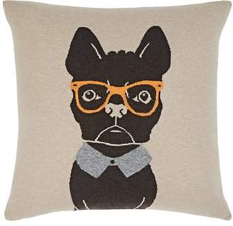 Rani Arabella Dog-With-Glasses Cashmere-Blend Pillow