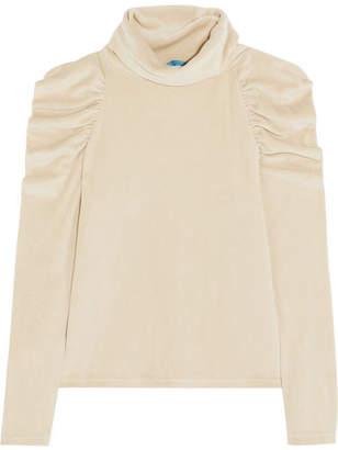 MiH Jeans + Bay Garnett Spider Ruched Cotton-blend Velour Turtleneck Top - Cream