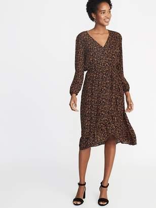 Old Navy Waist-Defined Ruffle-Trim Faux-Wrap Georgette Dress for Women