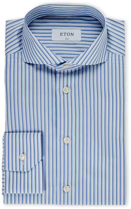 Eton Navy & White Slim Fit Stripe Dress Shirt