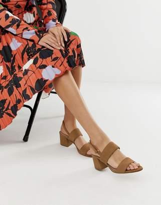 Aldo Arievia suede flared block heeled sandals in camel
