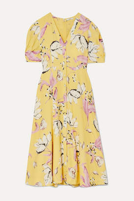 Erdem Gracelyn Floral-print Crepe Midi Dress - Yellow