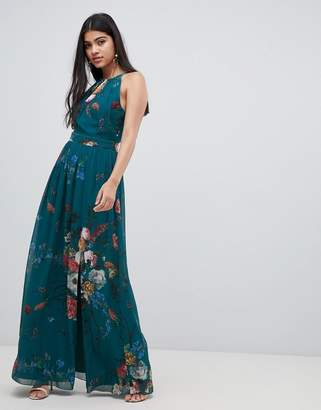 fbe203d8199d9 Little Mistress high neck maxi dress in floral print