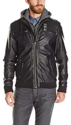 Buffalo David Bitton Men's Jipticalty Coated Pu Hooded Fashion Jacket