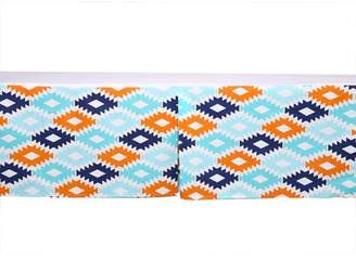 Bacati Liam Aztec Kilim Aqua/Orange/Navy Tailored with 100% Cotton Percale 13 inch drop Crib/Toddler Bed Skirt