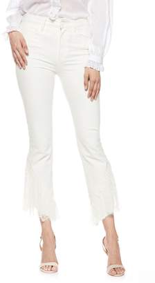 Paige Hoxton Lace Hem High Waist Ankle Straight Leg Jeans