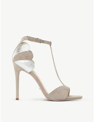 Dune Mytho scallop-detail T-bar suede heeled sandals