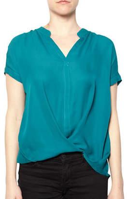 Amour Vert Draped Silk Blouse