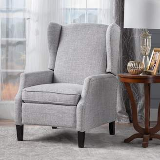 Noble House Allan Wingback Traditional Fabric Recliner, Light Grey Tweed