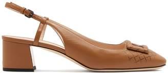 Bottega Veneta Intrecciato-effect leather pumps