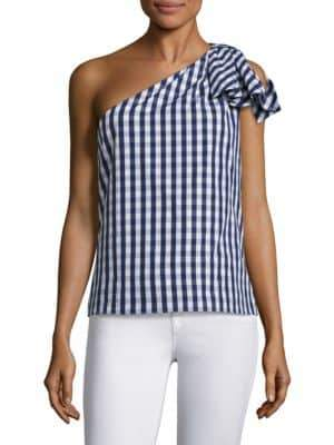 Milly Cindy Gingham One-Shoulder Top