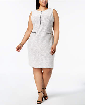 Calvin Klein Plus Size Line-Detail Shift Dress