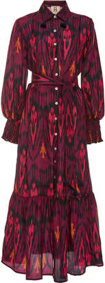 Figue Indiana Belted Ikat Silk Dress Size: S