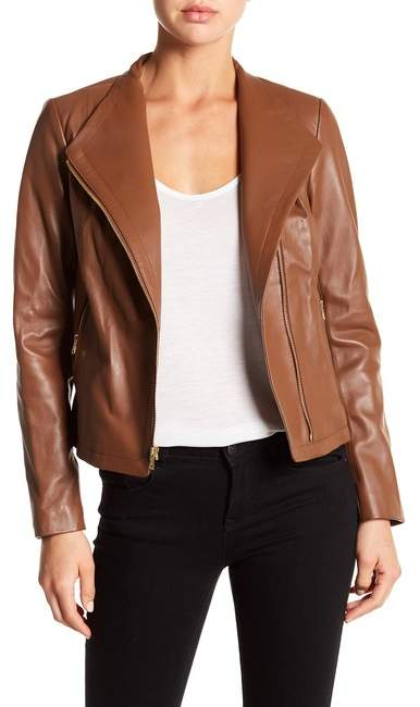 Cole Haan  Cole Haan Asymmetrical Front Zip Genuine Leather Jacket