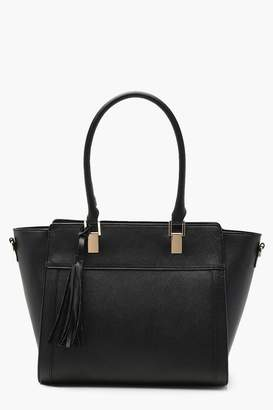 boohoo Tassel Detail Crosshatch Structured Tote