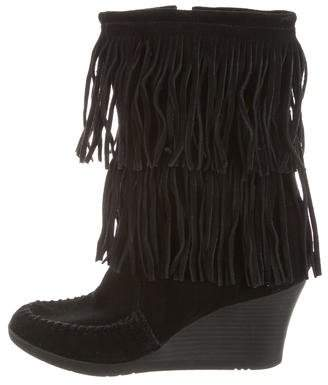 Minnetonka Fringe Wedge Boots