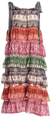 Zimmermann Amari Tiered Tie-Shoulder Printed Silk-Blend Midi Dress