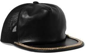 Moschino Mesh-Paneled Embellished Leather Cap
