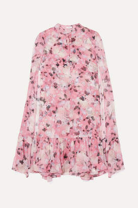 Erdem Constantinea Cape-effect Tiered Floral-print Silk-voile Dress - Pink