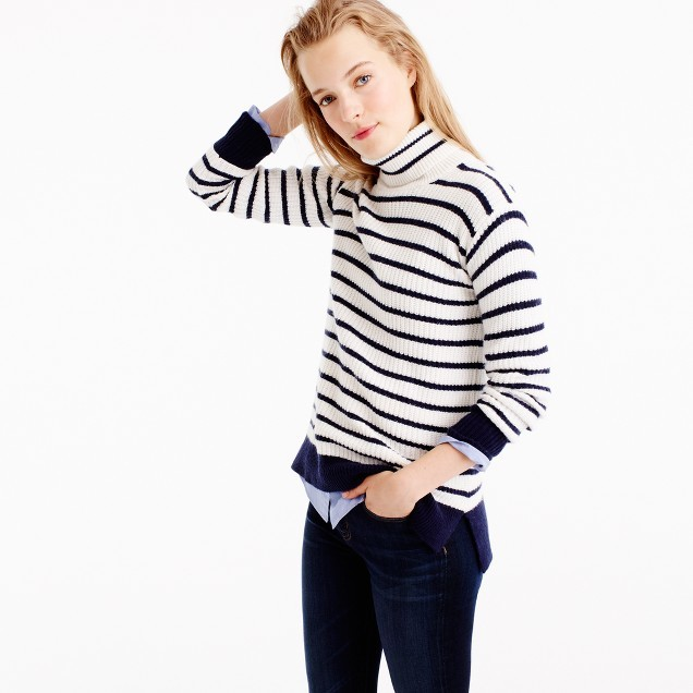 J.CrewRibbed relaxed wool turtleneck sweater in stripe