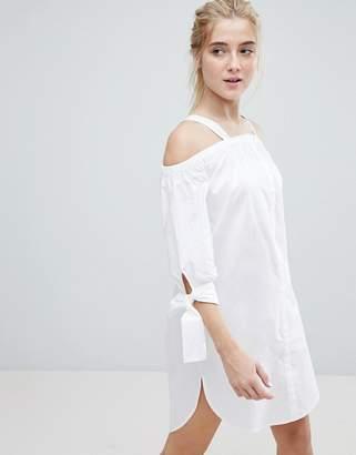 Monki Cold Shoulder Beach Shirt Dress
