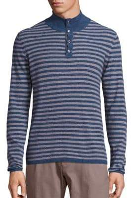 Saks Fifth Avenue COLLECTION Mockneck Stripe Pullover