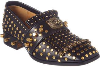 Gucci Studded Fringe Leather Loafer
